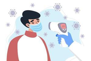 controllo della temperatura corporea con un termometro a infrarossi vettore