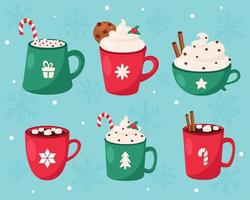 buon Natale. raccolta di bevande calde di natale. illustrazione vettoriale. vettore