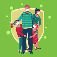 famiglia che indossa una maschera medica protettiva per prevenire il coronavirus covid19 vettore