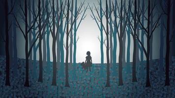 ragazza con il suo orsacchiotto che cammina perso attraverso una foresta raccapricciante vettore
