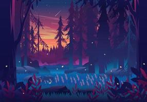 illustrazione del paesaggio della foresta al tramonto vettore