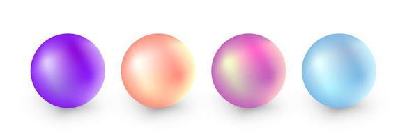 set di perle realistiche isolato su uno sfondo bianco vettore
