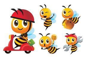 cartone animato carino varietà di api pose impostato con giro in scooter e consegna vaso di miele vettore