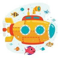 sottomarino dei cartoni animati sotto il mare vettore