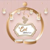 ilustration grafica vettoriale di eid mubarak design con stage promo