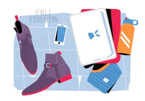 Stivali alla moda di caduta sull'illustrazione piana del fondo di vettore degli elementi essenziali di caduta dell'attrezzatura