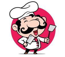 cartone animato simpatico personaggio chef italiano con grandi baffi tenendo la spatola e il coltello sul cerchio rosso vettore