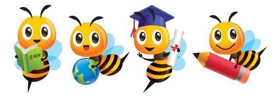 cartone animato carino ape torna a scuola mascotte impostato con cappello di laurea tenendo il libro matita e globo vettore