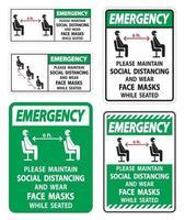 emergenza mantenere sociale allontanamento indossare maschere per il viso segno su sfondo bianco vettore