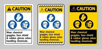 segnale di attenzione indossare occhiali di protezione chimica e guanti di gomma quando si maneggiano sostanze chimiche vettore