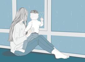 mamma e bambino guardano alla finestra mentre piove vettore