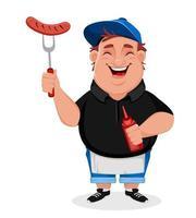 barbecue giovane uomo allegro cuochi salsicce alla griglia vettore