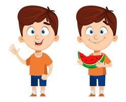 ragazzo personaggio dei cartoni animati carino bambino divertente vettore