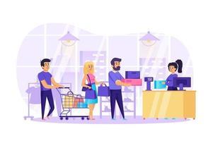 persone che acquistano in negozio concetto illustrazione vettoriale di persone caratteri in design piatto