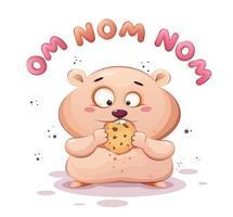 criceto carino mangiare biscotti criceto divertente vettore