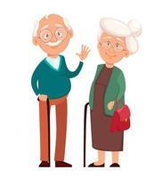 nonna in piedi insieme al nonno vettore