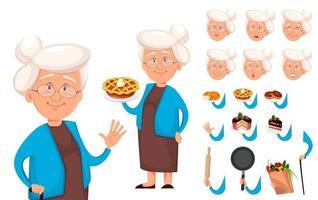 set di creazione del personaggio dei cartoni animati della nonna vettore