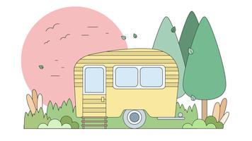 Vettore di viaggio del caravan