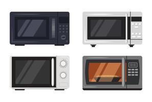 Le icone del forno a microonde hanno impostato la vista frontale degli elettrodomestici da cucina vettore