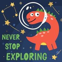 t shirt design con simpatico cosmonauta dinosauro vettore