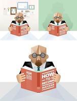 uomo d & # 39; affari che legge un vettore di concetto del libro