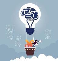 imprenditrice e percentuale su un palloncino lampadina con megafono vettore