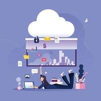 la donna di affari inserisce i dati nell'archiviazione dei dati cloud protetta. concetto di tecnologia aziendale vettore