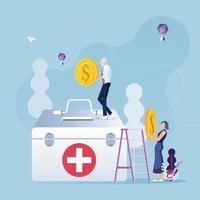 concetto di risparmio per anziani. soldi di risparmio dei dipendenti anziani per cure mediche vettore