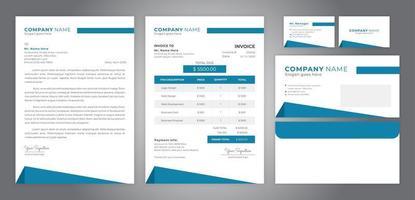 semplice identità aziendale blu, inclusi biglietto da visita con fattura su carta intestata e busta vettore