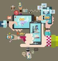 le mani tengono il dispositivo mobile, tablet, pc con il vettore di applicazione