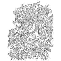 schizzo disegnato a mano di cavallo nel giardino delle rose per libro da colorare per adulti vettore