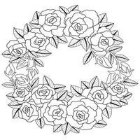 schizzo disegnato a mano di ghirlanda di rose per libro da colorare per adulti vettore