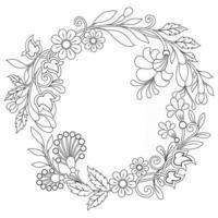 schizzo disegnato a mano di ghirlanda di fiori per libro da colorare per adulti vettore