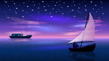 uomo in barca silhouette notte vista sul mare vettore