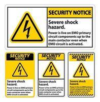 avviso di sicurezza grave segno di pericolo di scossa su sfondo bianco vettore