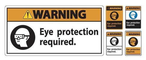 segnale di avvertimento protezione per gli occhi necessaria simbolo isolare su sfondo bianco vettore