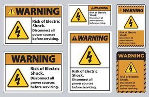 avviso di rischio di scosse elettriche simbolo segno isolare su sfondo bianco vettore