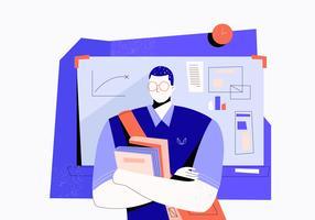 Ragazzo del nerd con i vetri nell'illustrazione piana di vettore del collage