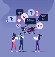 concetto di feedback dei clienti team aziendale parlare con feedback. fumetto vettore
