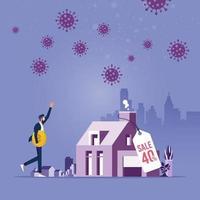 impatto sul mercato immobiliare e immobiliare dal concetto di crisi del coronavirus vettore