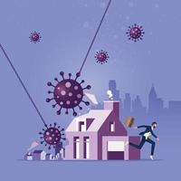 impatto sul mercato immobiliare e immobiliare da covid 19. concetto di crisi del coronavirus vettore