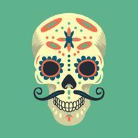 Illustrazione variopinta del cranio dello zucchero messicano vettore