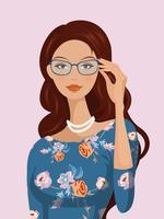 Ragazza con capelli ondulati e occhiali Vector