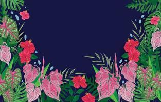 fiori estivi con sfondo di piante moderne vettore