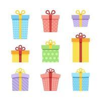 collezione di scatole regalo colorate vettore