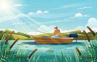 uomo seduto in una barca e pesca nel lago estivo vettore