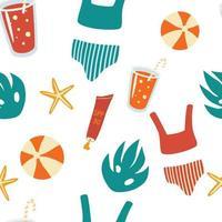 Vector seamless pattern con articoli estivi. elementi da spiaggia vettoriali, costume da bagno, cocktail con una cannuccia, palla, crema solare, stelle marine.