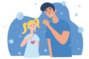 famiglia spazzolare i denti. padre e figlia si lavano i denti insieme. famiglia felice e salute. igiene della bocca. vettore