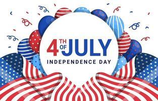 bandiera del giorno dell'indipendenza e sfondo baloon vettore
