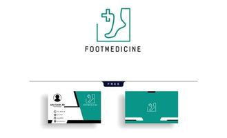 illustrazione di vettore del modello di logo della medicina della caviglia del piede con design biglietto da visita gratuito